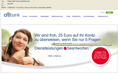 Citibank - Fälschung einers Mailing - Pishing-Mail