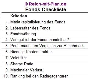 Ausschnitt Fonds Checkliste